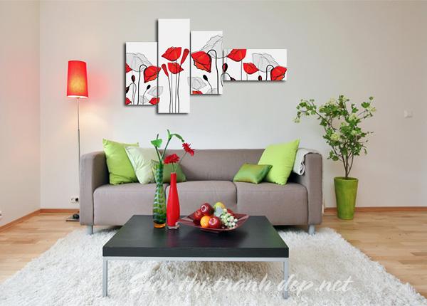 Những bức tranh sẽ tạo tính thẩm mỹ cao cho cách trang trí phòng khách đẹp.