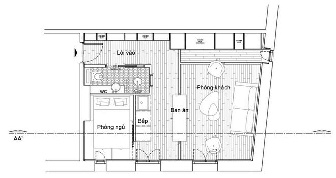 Thiết kế căn hộ 30m2 dành cho cặp vợ chồng