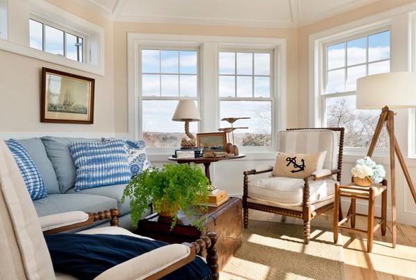 Thiết kế phòng khách đẹp theo phong cách hải quân