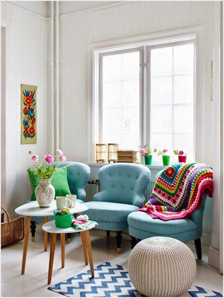 Ý tưởng độc đáo không cần ghế sofa trong phòng khách