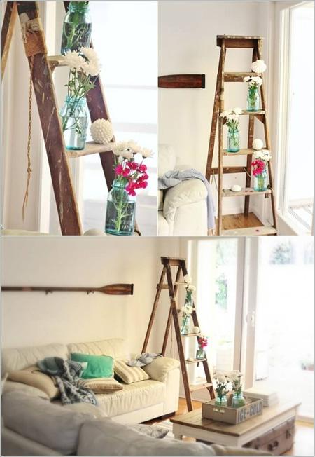 Thang gỗ trở thành món đồ trang trí đầy phong cách