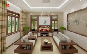 Ghế sofa gỗ toàn bộ vẫn là sự ưu tiên của nhiều gia đình trong cách trang trí phòng khách đẹp.