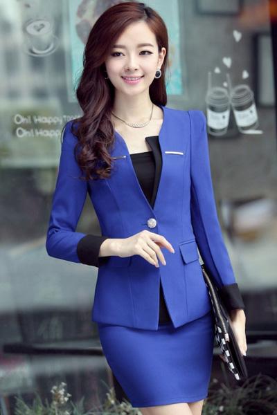 áo vest xanh cho cô nàng công sở