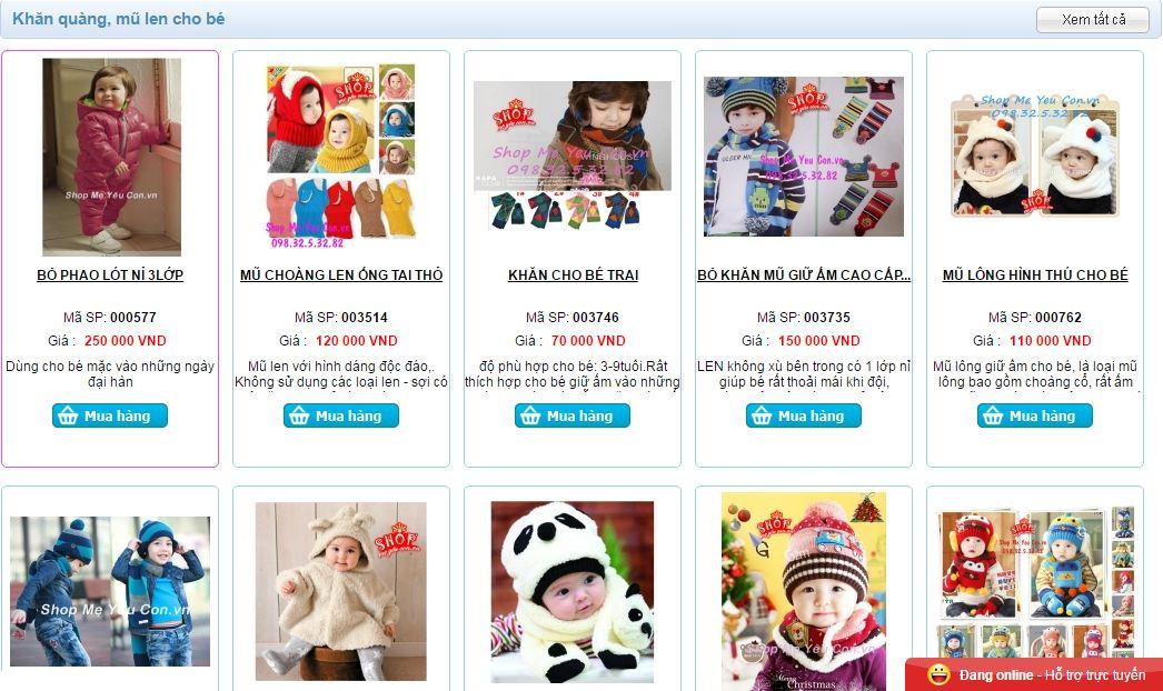 Các sản phẩm khăn quàng cổ cho bé rất đa dạng