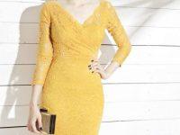Đầm Xòe Công Sở Vàng Điên