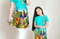 Vải Áo Dài Cách Tân Mẹ Và Con Siêu Đẹp 2017